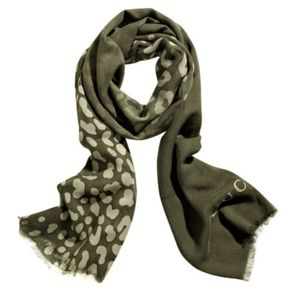 Gucci Olive Animal Print Silk would Blend Scarf